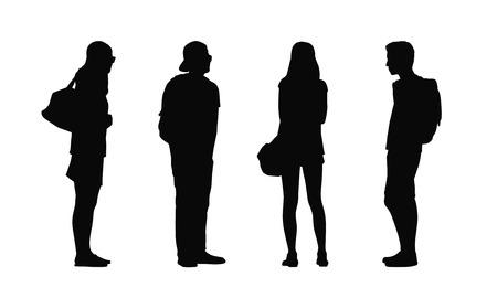 adolescente: siluetas de los adultos jóvenes normales al aire libre en diferentes posturas de pie mirando a su alrededor, el verano, frente, espalda y vistas de perfil