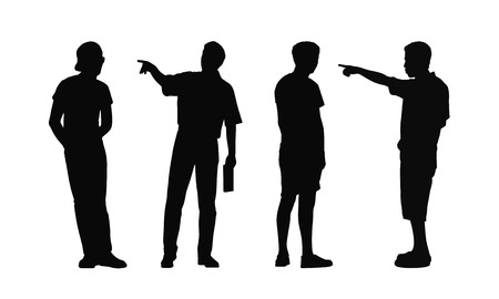 postures: silhouettes of ordinary young men standing outdoor in different postures looking around, summertime, front, back and profile views Stock Photo