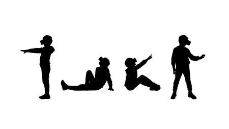 Vector silhouettes of a 8-12 years old boy in casual clothes in virtual reality headset.