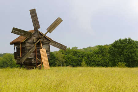 the windmill in Pirigovo - outdoor museum of folk architecture in Ukraine photo