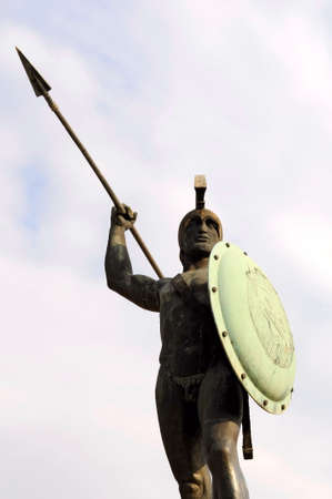 the sculpture of King Leonidas in Thermopylae, Greece 写真素材