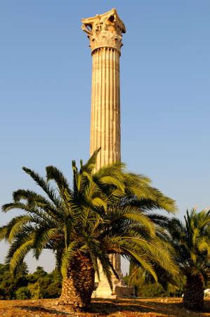 olympian: column of the temple of Olympian Zeus in Athens (Greece) Stock Photo