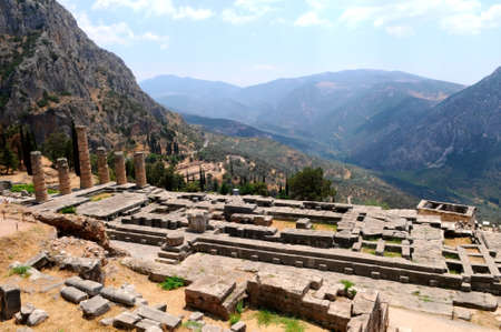 general view of Apollo temple in Delphi, Greece Stock Photo