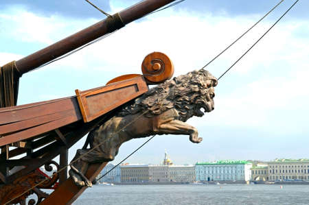 bowsprit: Lion-shaped rostrum on Neva river, St Petersburg, Russia