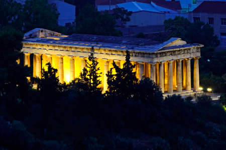 night view of Temple of Hephaestus in Athens, Greece photo