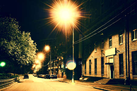outdoor lighting: night street in Moscow, Russia