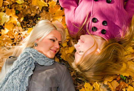 girls in autumn park Stock Photo - 5754279