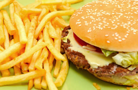 Delicious cheeseburger with fries on green photo