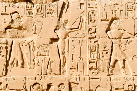 carving on the wall of the Karnak temple, Luxor, Egypt photo
