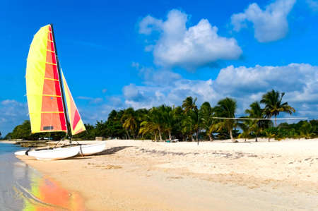 catamaran: Tropical beach with catamaran, Playa Larga, Cuba