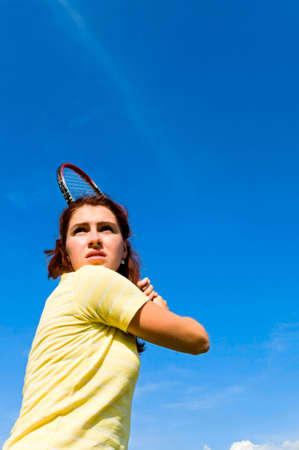 young woman with tennis racket Stock Photo - 6676222