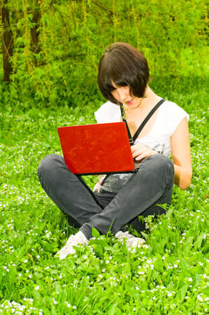 girl with laptop photo