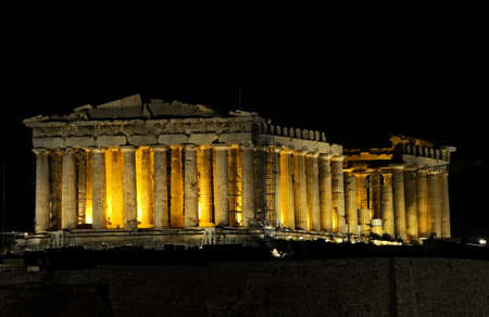 greek culture: night view of Parthenon in Athens, Greece Stock Photo