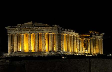 parthenon: night view of Parthenon in Athens, Greece Stock Photo