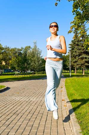 pretty girl running Stock Photo