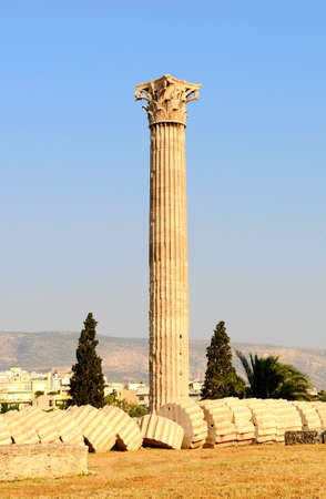 column of the temple of Olympian Zeus in Athens (Greece)  photo