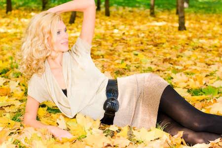 top model in autumn park photo