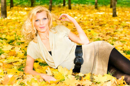 russian top model in autumn park photo