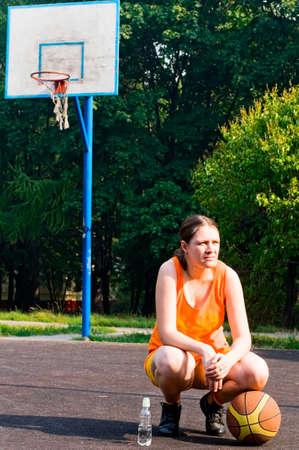 girl playing basketball photo