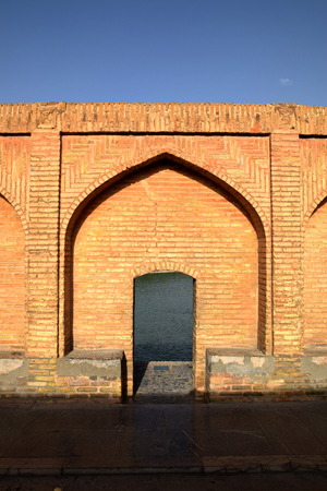 esfahan: Arch view of Siosepol Siose Bridge in Esfahan Iran
