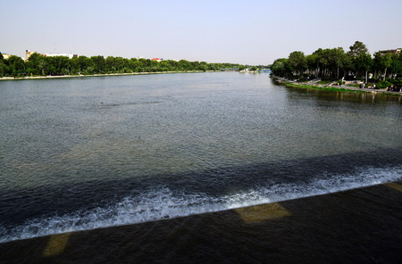 safavid: View from Arch Siosepol Siose Bridge in Esfahan Iran