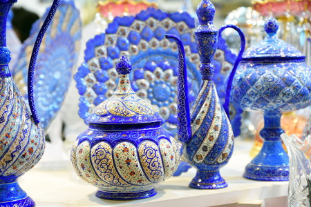 Mina Minakari Handicraft made in Esfahan Naqshe Jahan Square Iran Stock Photo