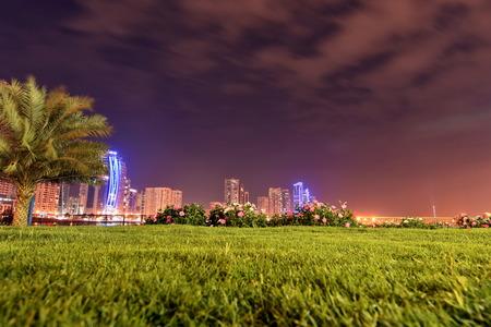 sharjah: Sharjah Buhaira Corniche with Noor Island,Sharjah, UAE Stock Photo
