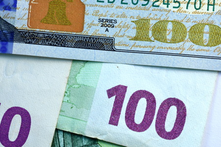 usd: Close up USD and EUR, Dollar and Euro currency note