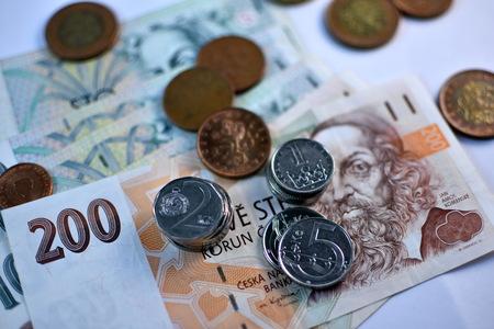 koruna: Close up Czech Koruna currency, Czech Republic