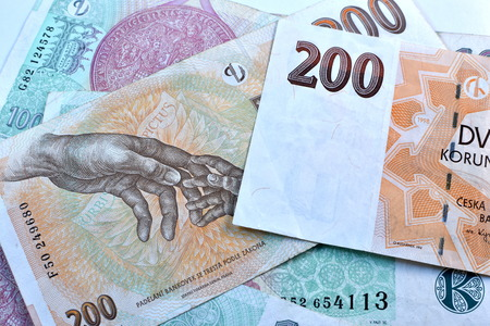 czech republic coin: Close up Czech Koruna currency, Czech Republic