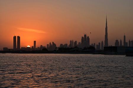 tallest bridge: Dubai Ferry route at evening view, Dubai Canal, United Arab Emirates Stock Photo