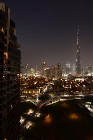 tallest bridge: Dubai Skyline at night from South ridge in Business Bay, Dubai, United Arab Emirates