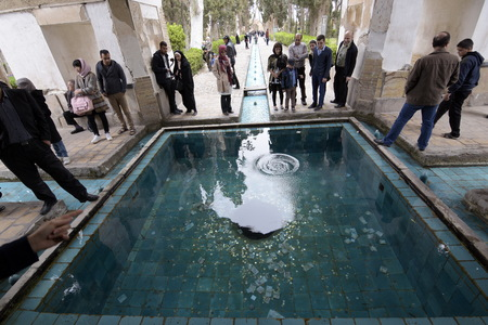 murdered: Fin, Kashan, Esfahan, Iran, March 23, 2017, is a historical Persian garden. It contains Kashans Fin Bath, where Amir Kabir, the Qajarid chancellor, was murdered by an assassin sent by King Nasereddin Shah in 1852.