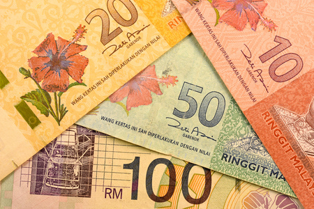 Close up Malaysia Ringgit currency note RMY