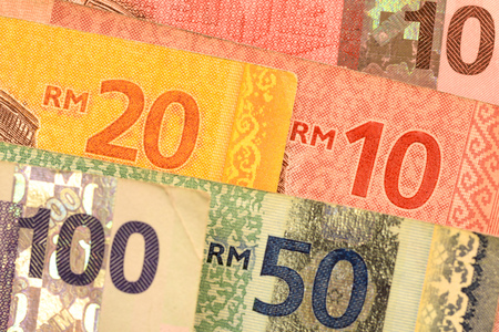 Close up Malaysia Ringgit currency note RMY Stock Photo - 80153582