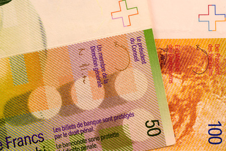 swiss franc note: Close up Swiss francs currency note CHF