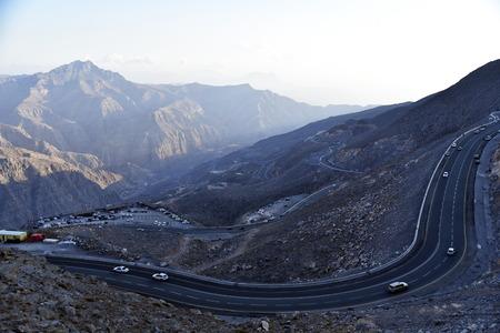Road to Jais Mountains, Jebel Jais, Ras Al Khaimah, United Arab Emirates Stock Photo