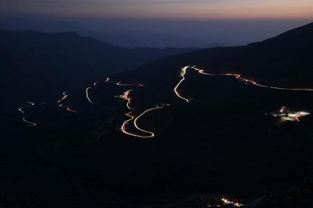 Car Trails in Jais Mountains, Jebel Jais, Ras Al Khaimah, United Arab Emirates