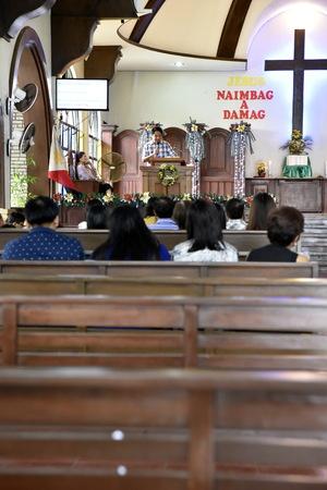 Santiago city, Isabela, Philippines, December 17, 2017, Buenavista United Methodist Church, main church in Buenavista area and School before Christmas
