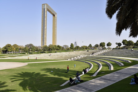 Dubai, United Arab Emirates, February 16, 2018, Zabeel Park located in Zabeel district, Dubai, one of the best park in Dubai with very good view from Dubai Frame.
