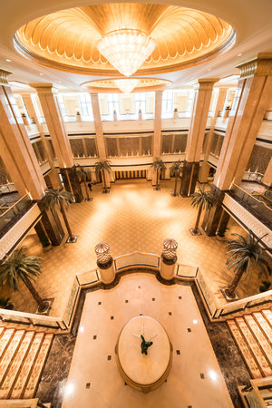 Abu Dhabi, United Arab Emirates, August 09, 2018, Emirates Palace Hotel, this luxurious hotel blends Arabian splendor with the latest technology to create a magical and memorable experience. The main Palace building stretches over a kilometre from wing to
