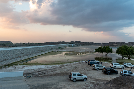 Wadi Al Qor, Sharjah, United Arab Emirates, December 14, 2018, road trip from Wadi Al Qor to Buraq Dam in the mountains, highest place of the road is 800 meters Editorial