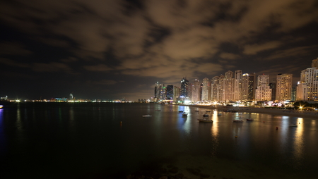 Dubai Skyline view at Bluewaters Island to Dubai Marina and Jumeira Beach Residence at night, Dubai, United Arab Emirates