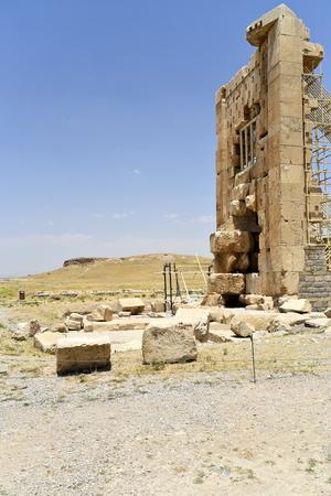Pasargadae, Shiraz, Fars Province, Iran, June 22, 2019, The stone Tower at the day
