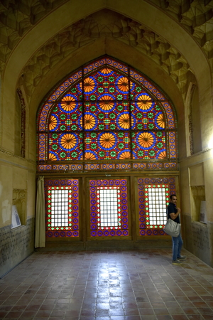 Arg of Karim Khan, Shiraz, Fars Province, Iran, June 23, 2019, Glass design of Doors and windows at the Arg Karim Khan zand Editöryel