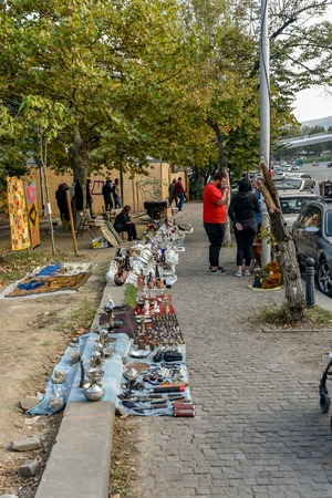 Tbilisi, Republic of Georgia, Tbilisi Flea Market or Dry Bridge Bazaar, October 21, 2019, There is a mesmerising assortment of antiques, jewellery, paints, metals items and bric-a-brac on sale
