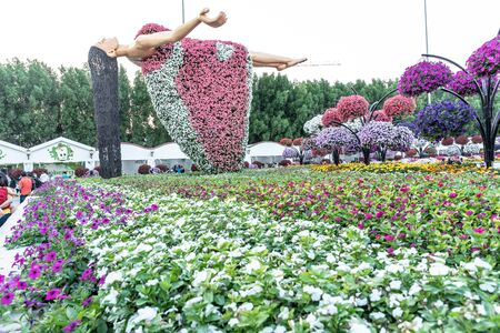 Dubai, United Arab Emirates, December 01, 2019, Dubai Miracle Garden located in the district of Dubailand is one of a kind in the region and the world for such a unique display and extravagant outdoor recreational destination visited by lot of people in winter time. Foto de archivo