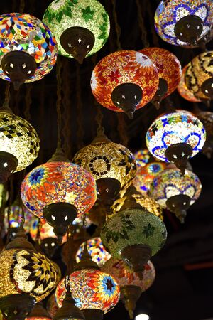Turkish Lamp or Moroccan Lantern, Eastern style, decorative lamps at store, in Global Village, Dubai, United Arab Emirates