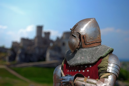 knight on the background of the castle Stock Photo - 10099367