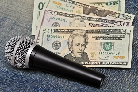 microphone and cash Stock Photo - 12626630